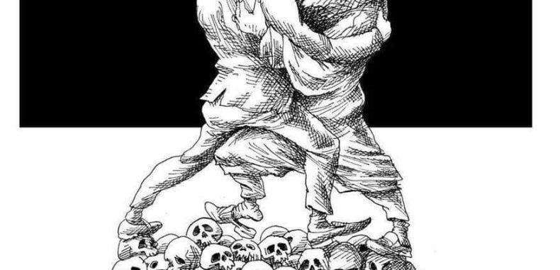التقاء على جماجم الشعوب كريكاتير لرسام إيراني