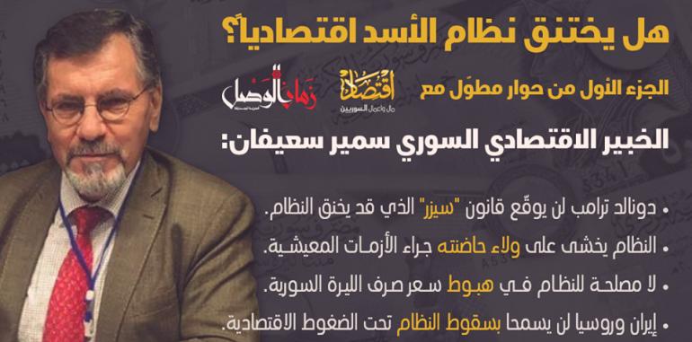 هل يختنق نظام الأسد؟.. د. سعيفان يُفصل وضع سوريا الإقتصادي